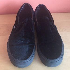 Black Vans Velvet Slip Ons Size Womens 9